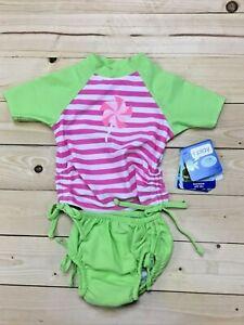 Infant IPlay Swimsuit Swim Diaper Rash Guard Green Pink 713170
