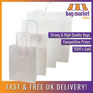 Strong White Ribbed Twisted Handle Paper Bags | Kraft/Twist/Gift/Party/Fashion