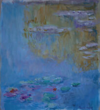 Fine impressionist era pastel water lilies painting Marked, Signed, Claude Monet