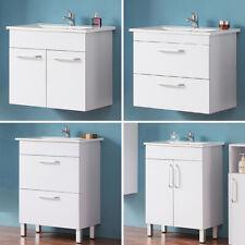Badmöbel Set 60cm Weiß Waschbecken+ Waschtisch Unterschrank Midi-/ Hochschrank