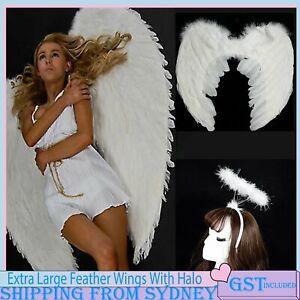 100x80cm Feather Wing Angel Halo Headband Fairy Adults Dress Costume Halloween A