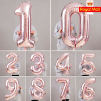 "40"" Giant Foil Number Rose Gold Helium Large Balloons Birthday Party Wedding OK"