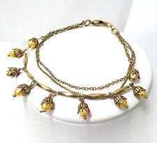 Original Pilgrim Women's Jewelry Delicate Pearls Triple Gold Bracelet RARE