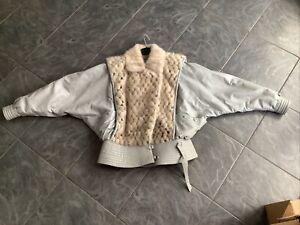 Vintage Fur & Leather Jacket Bat Wing Custom Made 14-16