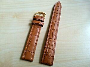 Beau bracelet montre cuir marron clair façon croco, 18 mm, EXTRA LONG, neuf
