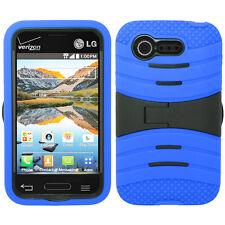 For Verizon LG Optimus Zone 2 VS415 Hard Gel Rubber KICKSTAND Case Phone Cover