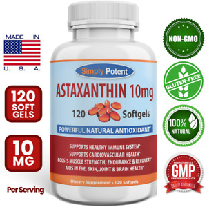 Astaxanthin 10mg 120 Softgels, Huge 4 Month Supply, Unlike Astaxanthin 12mg