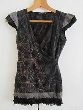 Black & Brown Cotton Floral / Sequins Vila Wrap Top in Size XS / 6