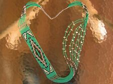 "Long & Gorgeous Handmade Beaded Navajo Rug Necklace ""Howlite"" 8 Strands John"