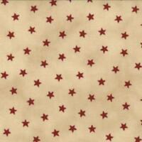 Coupon de Tissu Moda patchwork petites étoiles rouges sur fond beige - 45x55cm