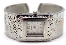 GENEVA BANGLE WATCH SQUARE SPRING FLORAL COPPER,GOLD,SILVER BLACK 2TONE