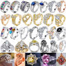 Women White Gold Plated Crystal Engagement Wedding Party Rings Jewelry SZ 5-12