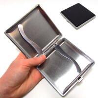 Black Pocket Leather Metal Tobacco 20 Cigarette Smoke Holder Storage Case New
