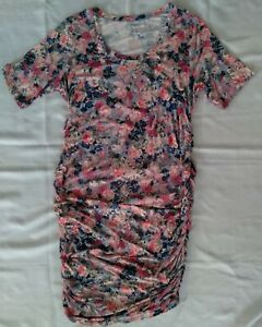 Motherhood Sz XLarge Ruched Pink Floral Midi Maternity Dress