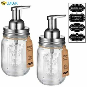 Mason Jar Foaming Soap Dispenser -Rustproof Stainless Steel Lid/BPA Free Foam Pu