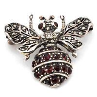 Außergwöhliche Schmetterling s Brosche Silber mit Granat und Markasiten