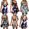 Womens Strappy Playsuit V Neck Tied Up Floral Shorts Jumpsuit Summer Mini Dress