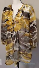 Nicole Miller Blouse/ Top Women size XL Yellow Gray Sheer 3/4 Sleeves