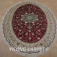 YILONG 6'x9' Handwoven Silk Area Rugs Oval Ellipse Red Home Carpets 0969