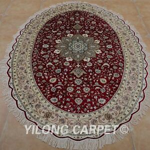 YILONG 6'x9' Handmade Silk Area Rug Oval Ellipse Red Home Decor Carpet 0969