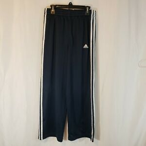 adidas M high rise cropped track pant navy mesh knit white stripes pockets 07/10