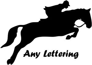 """2 x 15"""" (HORSE AND NAME) FIT HORSE TRAILER, VAN CAR DECALS VINYL GRAPHIC STICKER"""
