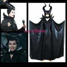 Maleficent Black Cosplay Costume Angelina Withch Full Leather Dress+Cloak+Hat