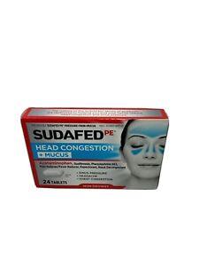 Sudafed PE Head Congestion + Mucus 24 Tablets EXP:4/21