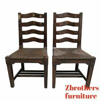 Pair Custom British Colonial Rush Seat Dining Room Desk Side Chairs A