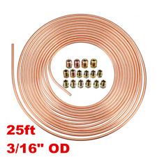 "3/16"" OD Copper Brake Pipe Hose 25ft Line Rolls Tube Piping Joint Union Nut Kit"