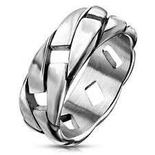 Stainless Steel Men's Modern & Gorgeous Chain Link Design Ring Size 9-13