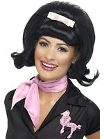 Womens Black Bouffant Wig 50s Hair Pink Bow Poodle Costume Beehive Halloween NEW