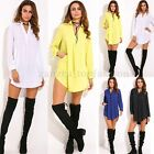 ZANZEA Women Blouse Oversized Long Sleeve Deep V Chiffon Shirt Tops Mini Dress