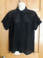W By Worth Women's Black Open Knit Eyelet Lace Button Down Short Sleeve Top Sz M