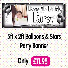 PERSONALISED PHOTO BIRTHDAY PARTY BANNERS ANY AGE, ANY NAME, ANY EVENT A001
