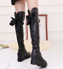 Winter Warm Women's Over Knee High Boots Leather Flat Shoes Lace Up Casual Shoes
