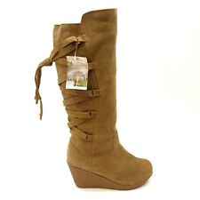 0e898cea19f New BearPaw Womens Britney Dark Tan Suede Knee-High Wedge Boots Size 9