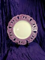 """Platter HORCHOW Serving Platter or Charger White with Purple rim.  13 5/8""""."""