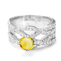 925 Sterling Silver Ring with Natural Round Yellow Citrine Gemstone Cocktail