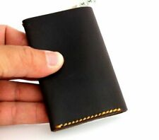 Men's Dark Leather Credit Card Case 2 Slots 2 Slip Pockets 1 Bill Compartment
