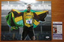 *JAMAICAN FLAG* Usain Bolt Signed Olympics Celebration 11x14 Photo Proof JSA COA