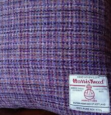 "Harris Tweed Cushion Cover Pink Purple Slate Grey Vintage Cottage 18"" Rectangle"