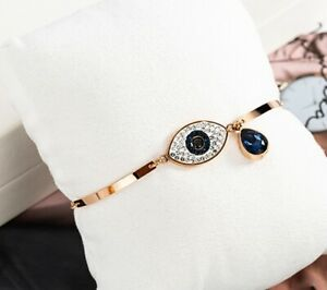 """Women Girl Titanium Stainless Steel Rose Gold CZ Evil Eye Bracelet Bangle 6-7.5"""""""