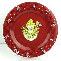 Gates Ware Red Snowman Christmas Holiday Snack Plate Raised Snowflakes
