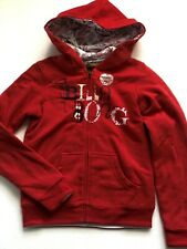 "New Billabong Girls ""Leila"" Reversible Red Zip Up Hooded Sweatshirt"