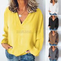 ZANZEA Women Deep V Casual Shirt Tops Long Sleeve Loose Plain Blouse Shirt Plus