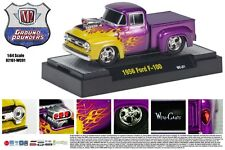 PURPLE 1956 FORD F-100 GROUND POUNDER M2 MACHINES 1:64 SCALE DIECAST METAL TRUCK