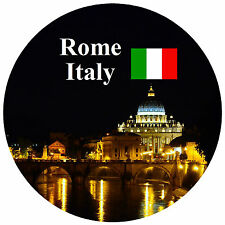 ROME, ITALY - FLAG / SIGHTS - ROUND SOUVENIR FRIDGE MAGNET - GIFTS - BRAND NEW