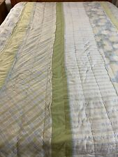 "Vintage Hand Quilted Patchwork Stripes Plaids & Flowers Quilt 70"" x 89"" Full sz"