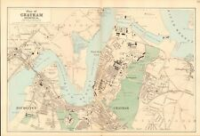 1890 Ca ANTIQUE MAP - TOWN PLAN, CHATHAM, ROCHESTER &c